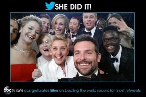 el selfie más retuiteado ellen degeneres gala oscar 2014