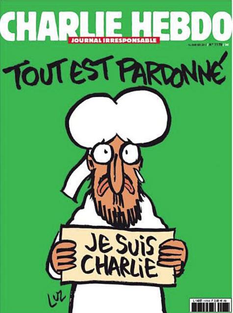 Primera Portada de la revista Charlie Hedbo tras atentando asesinato de sus periodistas