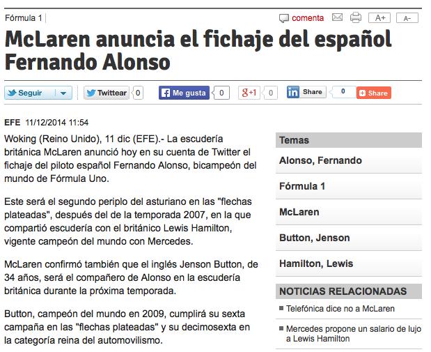 McLaren anuncia el fichaje del español Fernando Alonso