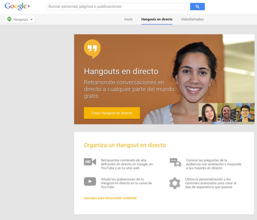 Imagen Google Hangout Live Streaming